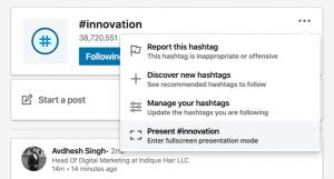 Hashtag presentation